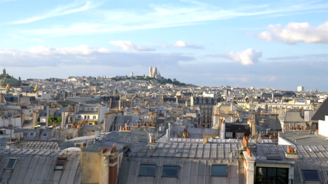 aerial view on sacre coeur in paris in slow motion 120fps - parigi video stock e b–roll