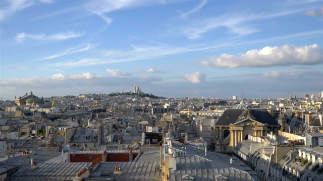 Aerial view on Sacre Coeur in Paris in slow motion 120fps Professional video of aerial view on Sacre Coeur in Paris in slow motion 120fps horizon over land stock videos & royalty-free footage