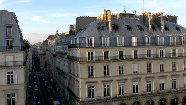 aerial view on street in paris in 4k slow motion - parigi video stock e b–roll