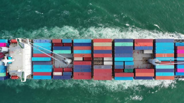 Aerial view on the top of the cargo ship and export business, logistics and sea transportation video