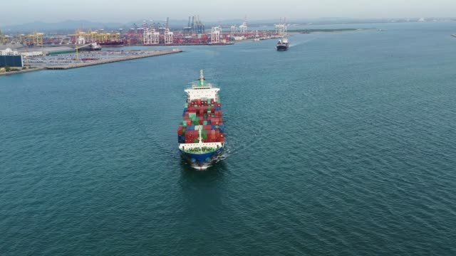 Aerial view on the top of the cargo ship video