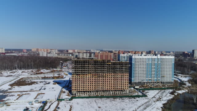 Aerial view сonstruction of a new residential area video