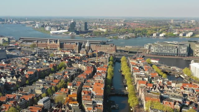aerial view or basilica of saint nicholas - amsterdam video stock e b–roll