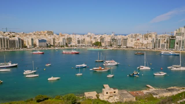 Aerial view os Sliema city. Flight from Manoel island. Malta country
