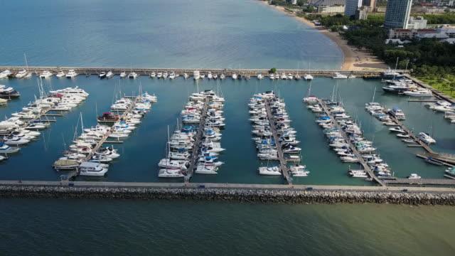 Aerial view ot Pattaya yatch harbour in Chonburi, Thailand video