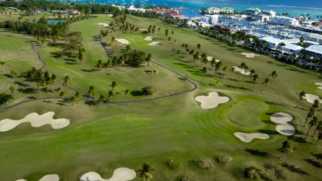 Aerial view over a green golf course in Guadeloupe near the Caribbean Sea, under the sun.