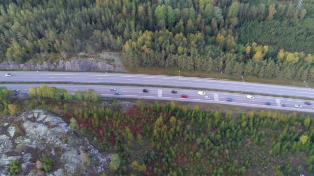 Aerial view over a highway in a rural landscape