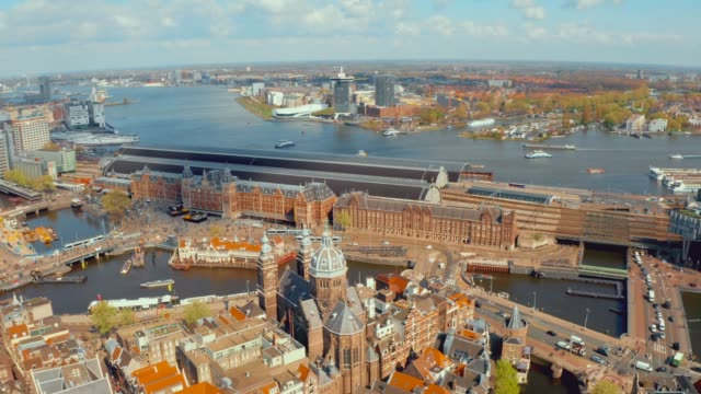 aerial view over amsterdam. - amsterdam video stock e b–roll