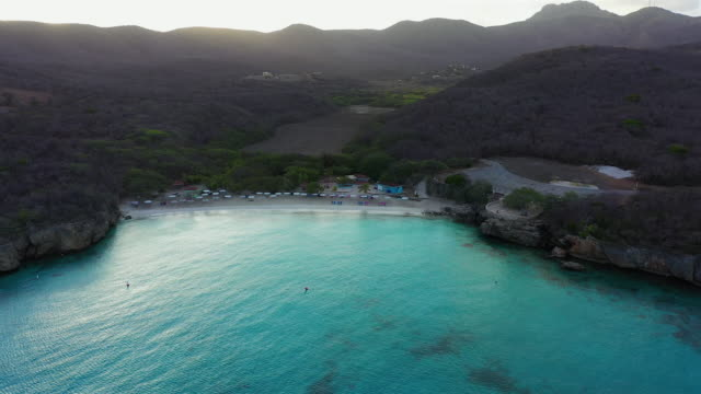 Aerial view over beach Grote Knip on the western side of  Curaçao/Caribbean /Dutch Antilles Aerial over Curacao /Caribbean /Netherland Antilles leeward dutch antilles stock videos & royalty-free footage