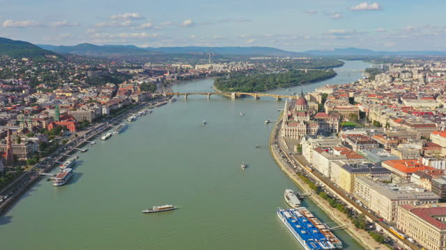 Aerial view over Budapest Hungary Aerial view over Budapest Hungary hungary stock videos & royalty-free footage