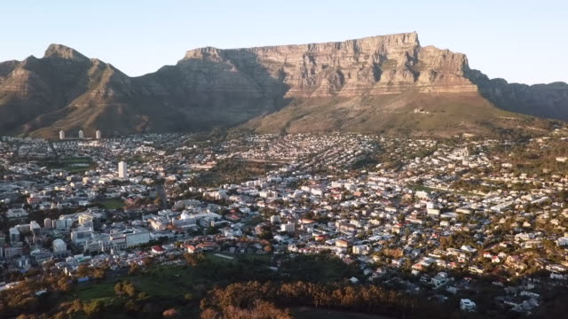 Aerial view over Cape Town, South Africa Aerial view of the city bowl of Cape Town, South Africa table mountain national park stock videos & royalty-free footage