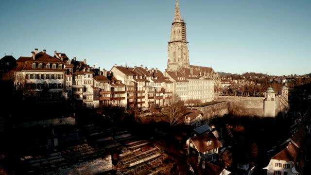 luftaufnahme über center von bern - kanton bern stock-videos und b-roll-filmmaterial