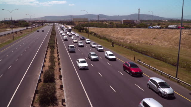 Aerial view over congested highway video