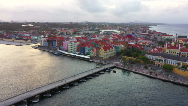 Aerial view over downtown Willemstad - Curacao - Caribbean Sea video