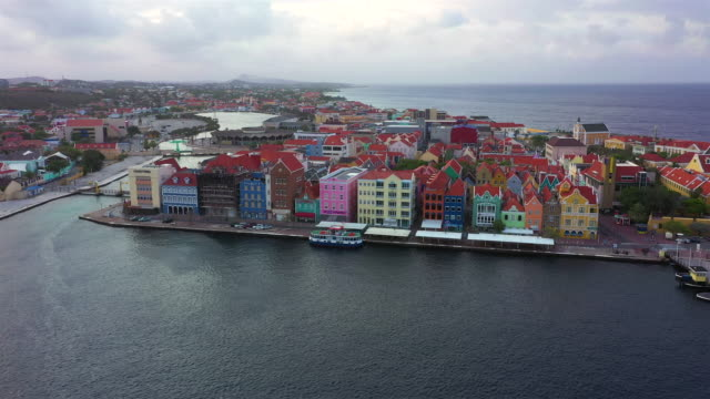 Aerial view over downtown Willemstad - Curacao - Caribbean Sea Aerial over Curacao /Caribbean /Netherland Antilles curaçao stock videos & royalty-free footage