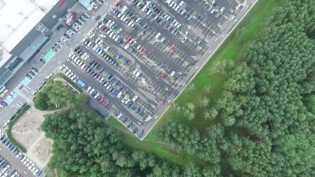 Aerial View Over Parking Near Supermarket 2 video