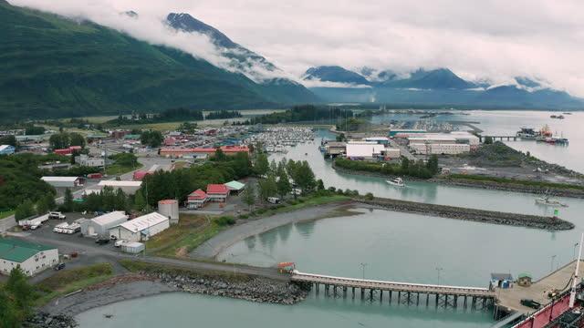 Aerial View over Port of Valdez Alaska USA