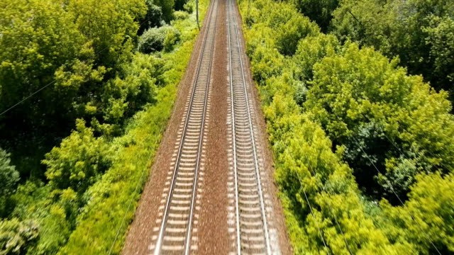 Aerial view over railway video