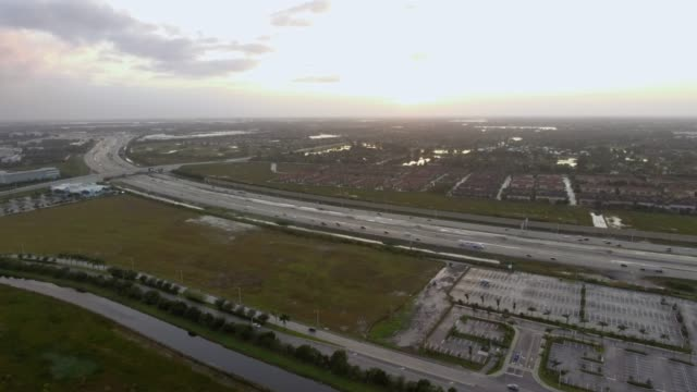 Aerial view over roads in South Florida video