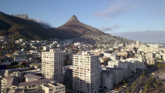 Aerial view over Sea Point, Cape Town, South Africa Aerial view of seaboard over Sea Point, Cape Town, South Africa cape peninsula stock videos & royalty-free footage
