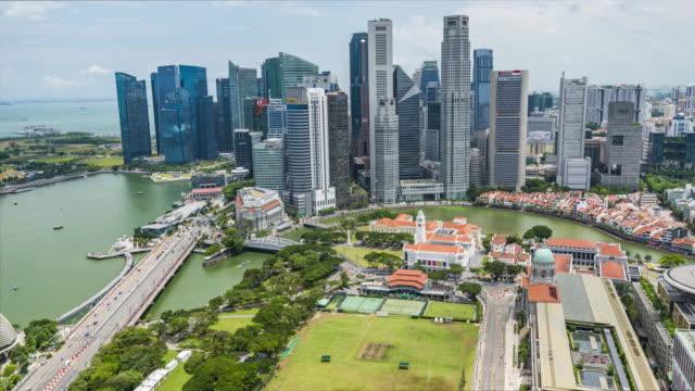 Aerial View Over Singapore Marina Bay