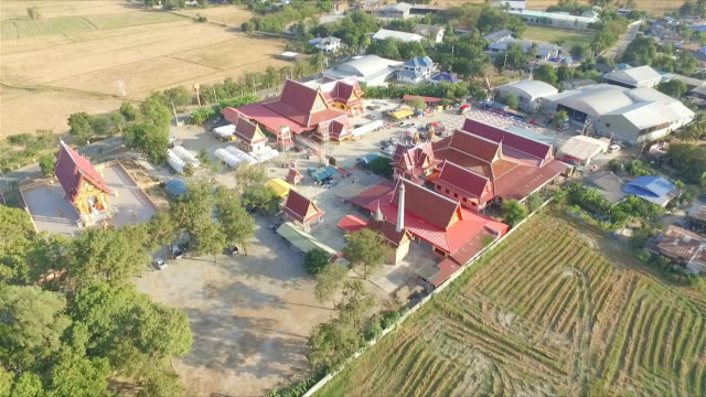 Aerial view over small countryside video