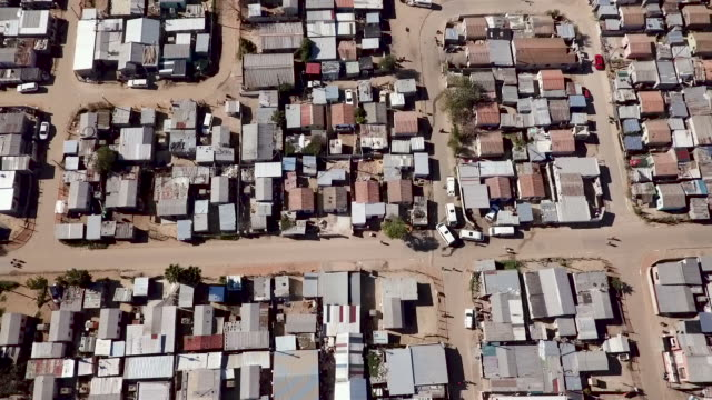 Aerial view over South African township Township in South. African from above western cape province stock videos & royalty-free footage