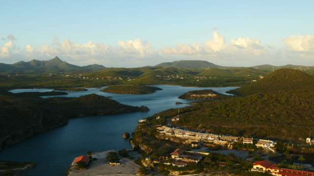 Aerial view over St. Martha Bay to Christoffel NP  - western part of Curaçao Aerial over Curacao /Caribbean /Netherland Antilles curaçao stock videos & royalty-free footage