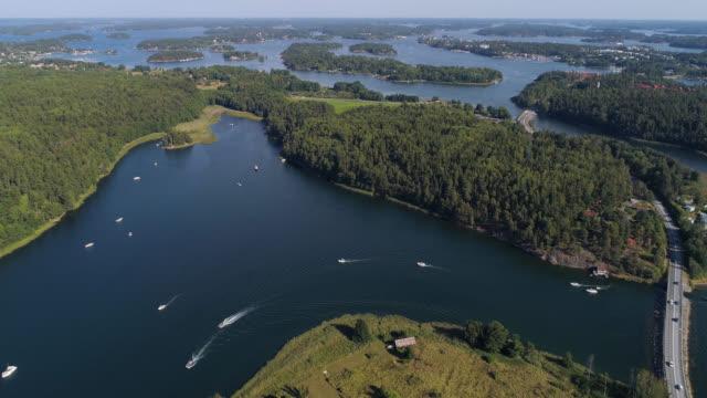 aerial view over stockholm archipelago - arcipelago video stock e b–roll