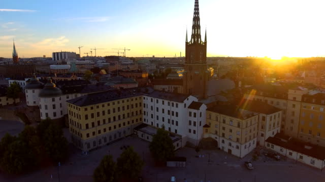 Aerial view over Stockholm Riddarholmen Aerial view over Stockholm Riddarholmen stockholm stock videos & royalty-free footage