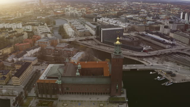 Aerial view over Stockholm Town Hall - Stock video Aerial view over Stockholm Town Hall - Stock video stockholm stock videos & royalty-free footage