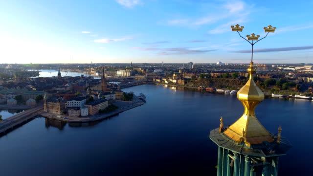 flygfoto över stockholms stadshus - stockholm bildbanksvideor och videomaterial från bakom kulisserna