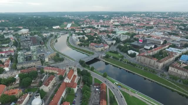 aerial view over the city near river 6 - lituania video stock e b–roll