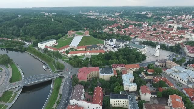 aerial view over the city near river 8 - lituania video stock e b–roll