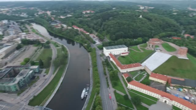 aerial view over the city near river 9 - lituania video stock e b–roll