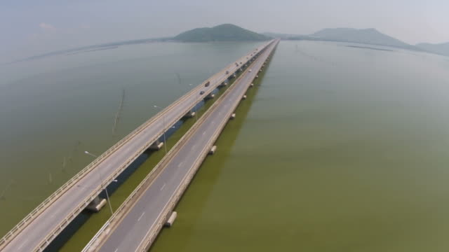 Aerial view over the concrete bridge video