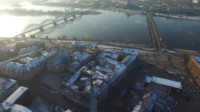 Aerial view over the Old Riga City video