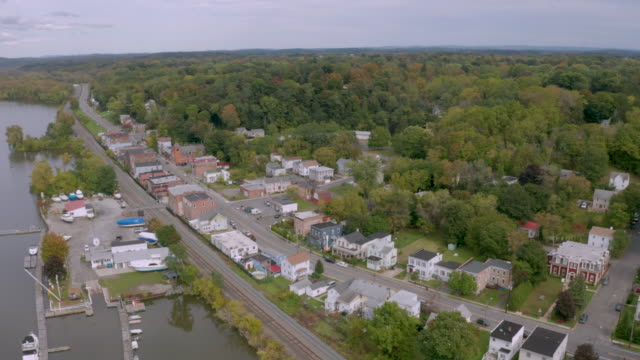 Aerial View Over the small riverfront town of Castleton by the Hudson