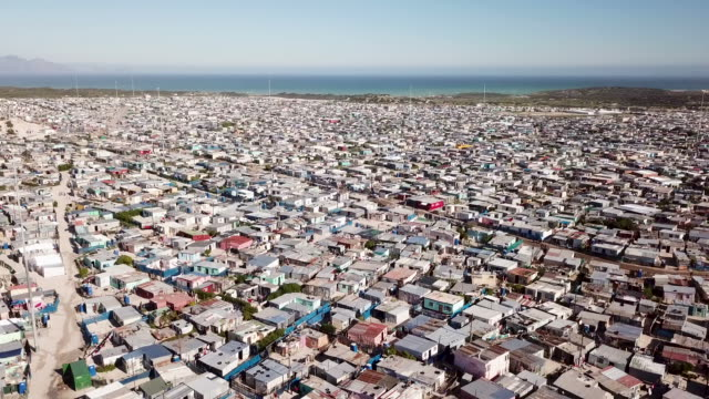 Aerial view over township in South Africa Aerial overhead South African township western cape province stock videos & royalty-free footage