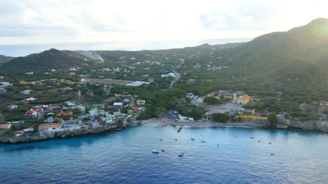 Aerial view over Westpunt  - western tip of Curaçao Aerial over Curacao /Caribbean /Netherland Antilles curaçao stock videos & royalty-free footage