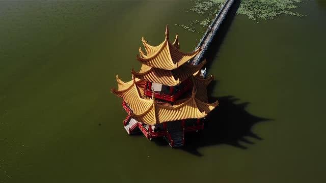 空中写真 パゴダロータス池高雄台北台湾hd 13 - 仏塔点の映像素材/bロール