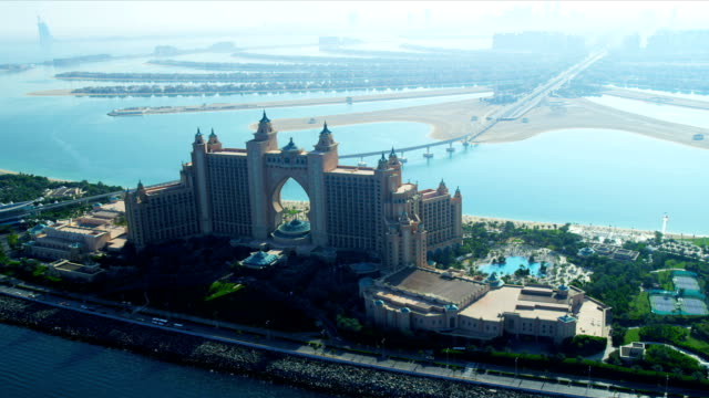 Aerial view Palm Atlantis, Dubai video