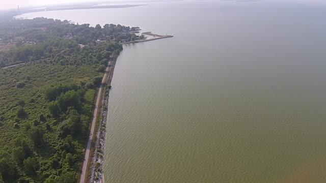 luftaufnahme schwenken über green lake erie während algenblüte - algen stock-videos und b-roll-filmmaterial