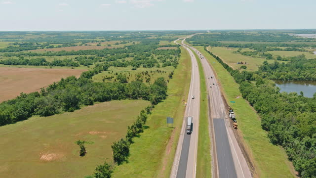 Aerial view panorama of original the historic Route 66 roadbed near Clinton Oklahoma