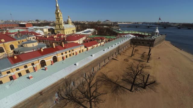 Aerial view. Peter and Paul fortress in St. Petersburg.4K.