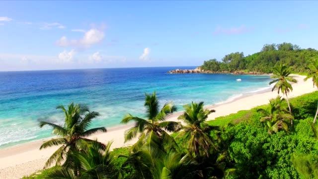 Aerial view: Police Bay, Mahé Island, Seychelles video