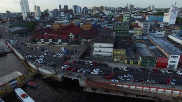 vídeos y material grabado en eventos de stock de puerto de vista aérea de manaos, brasil - anclado