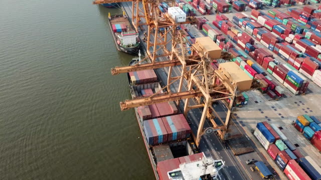 aerial view ,port with containers ship - ports stock videos & royalty-free footage