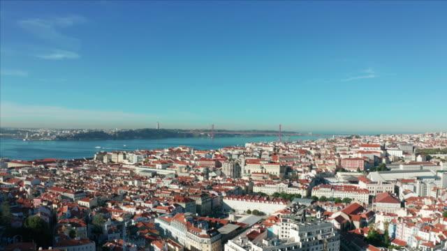 vídeos de stock e filmes b-roll de aerial view. portugal, lisbon the alfama is oldest district of lisbon - lisbon