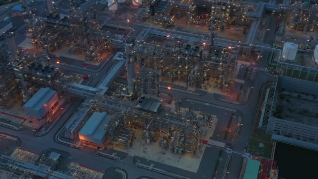 Aerial view refinery plant at night, 4K Night time aerial view.